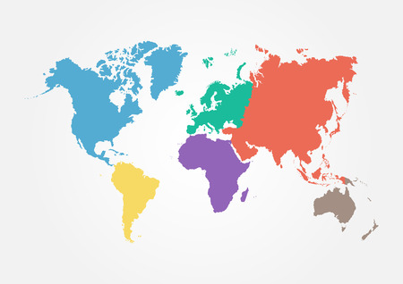 Illustration pour Vector World map with continent in different color ( flat design ) - image libre de droit