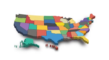 Illustration pour 3D Map of United state of america . - image libre de droit