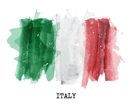 Illustration pour Watercolor painting flag of Italy Vector . - image libre de droit