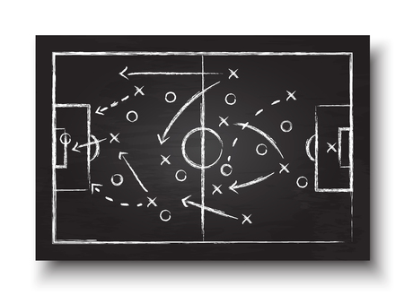 Ilustración de Soccer cup formation and tactic . Blackboard with football game strategy . Vector for international world championship tournament 2018 concept . - Imagen libre de derechos