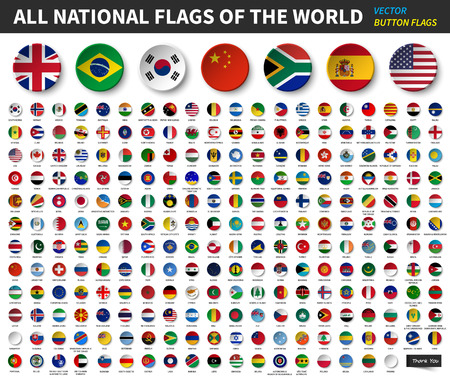Illustration pour All national flags of the world . Circle concave button design . Elements vector . - image libre de droit