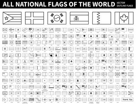 Illustration pour All national flags of the world . Outline shape design . Editable stroke vector . - image libre de droit