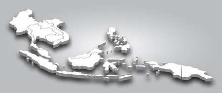 Illustration pour 3D map Southeast asia with perspective view on gray color gradient background . Vector . - image libre de droit