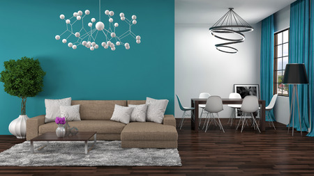 Foto de interior with brown sofa. 3d illustration - Imagen libre de derechos