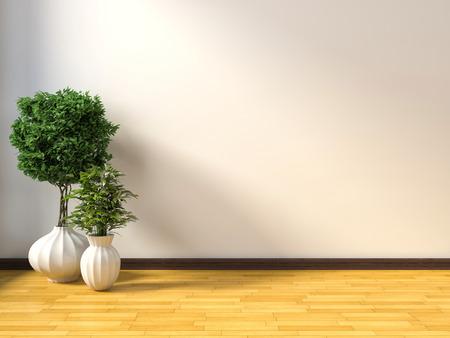 Foto de white interior with plant. 3D illustration - Imagen libre de derechos