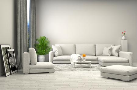 Foto de interior with white sofa. 3d illustration - Imagen libre de derechos