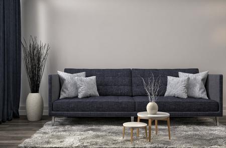Foto de interior with sofa. 3d illustration - Imagen libre de derechos