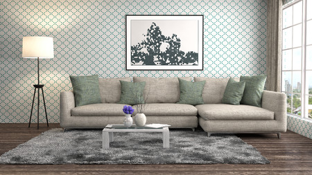 Photo for interior with sofa. 3d illustration - Royalty Free Image