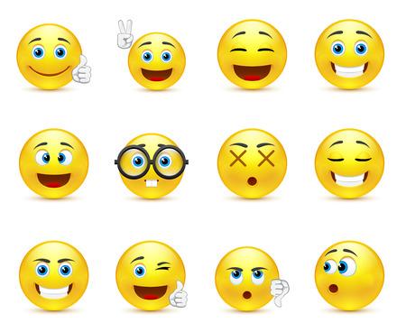 Illustration pour smiley faces expressing different feelings - image libre de droit