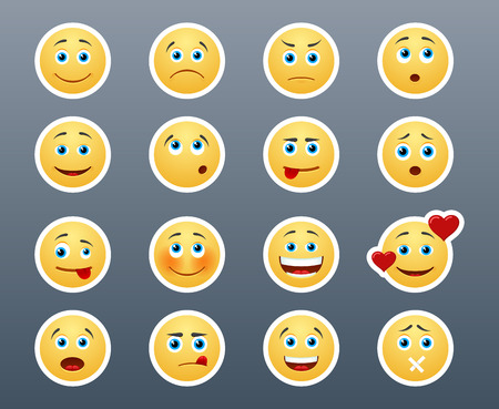 Illustration pour Beautiful joyful and sad smiley yellow stickers in a small set of - image libre de droit