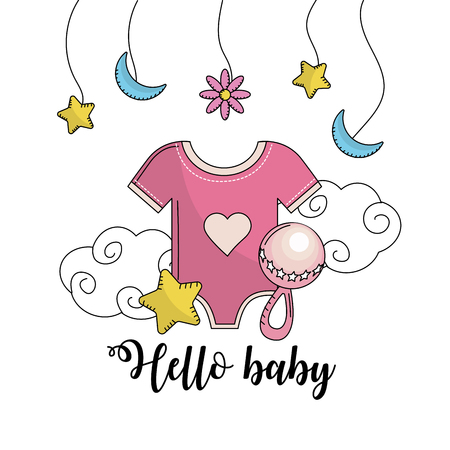 Illustration pour baby shower to welcome a child in the family vector illustration - image libre de droit