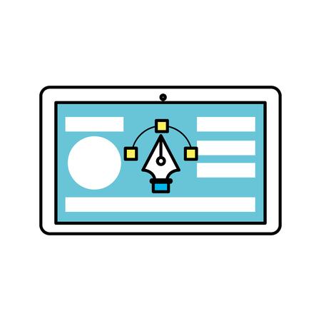 Illustration pour tablet with business website and arrow cursor - image libre de droit