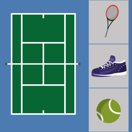 Ilustración de tennis court with sneakers and ball with racket objects to play - Imagen libre de derechos