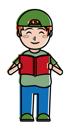 Ilustración de Boy and book,  education and lesson theme Isolated design Vector illustration - Imagen libre de derechos