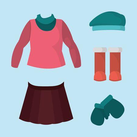 Illustration pour Girls winter clothes icon. - image libre de droit