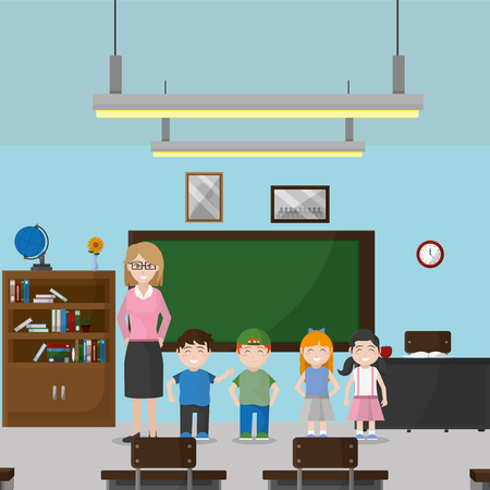 Ilustración de School classroom of education and lesson theme Vector illustration - Imagen libre de derechos