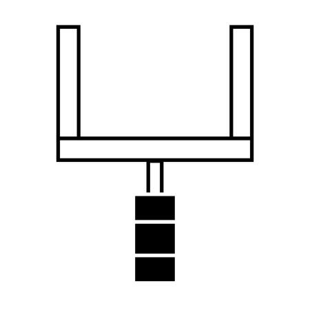 Illustration pour Contour goal post to football field sport vector illustration. - image libre de droit