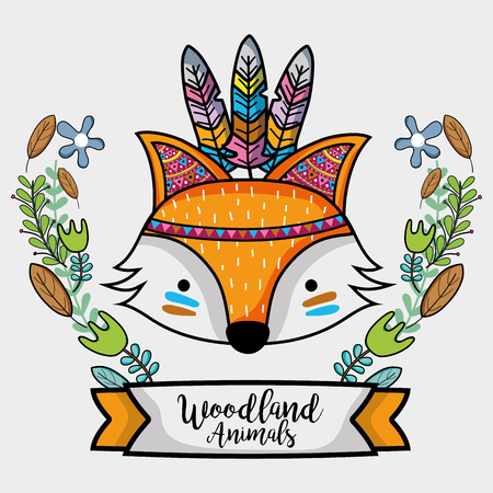 fox tribal animal with feathers design