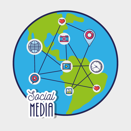Illustration pour social media to netword global connection vector illustration - image libre de droit