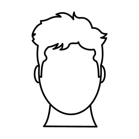 Illustrazione per line avatar man head with default face vector illustration - Immagini Royalty Free
