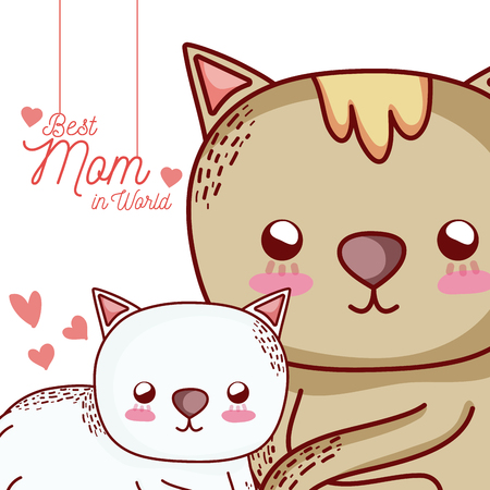Illustrazione per Happy mother's day card with cute animals cartoons - Immagini Royalty Free