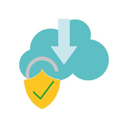 Illustration pour Colorful cloud data downloading and padlock good security vector illustration. - image libre de droit