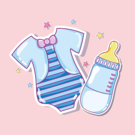 Ilustración de Cute shirt and baby bottle - Imagen libre de derechos