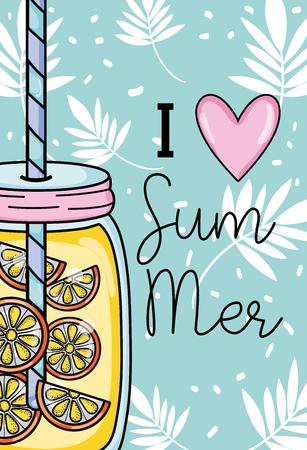 Ilustración de I love summer with leaves and juice drink - Imagen libre de derechos