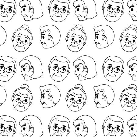 Foto de line old woman and man head background vector illustration - Imagen libre de derechos