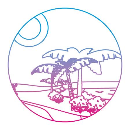Ilustración de degraded line desert palm tree with island landscape - Imagen libre de derechos