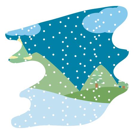 Illustration pour winter weather and snowing season landscape vector illustration - image libre de droit
