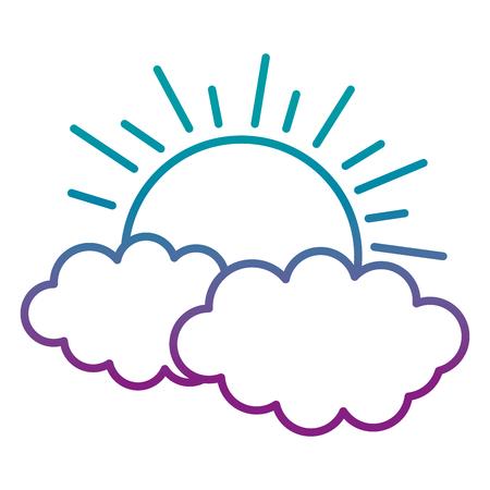 Illustration pour degraded line nature sun weather and cute clouds - image libre de droit