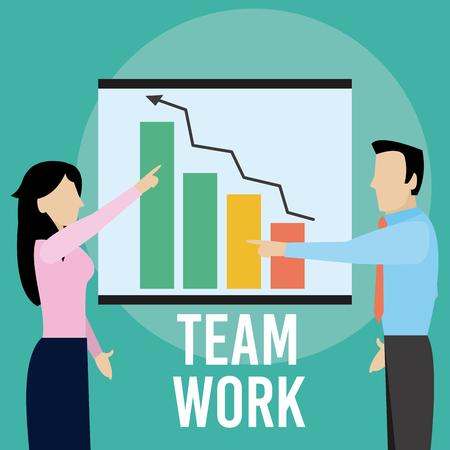 Illustrazione per Business people exposing statistics on whiteboard vector illustration graphic design - Immagini Royalty Free