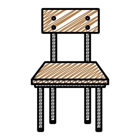 Ilustración de doodle front wood school chair education vector illustration - Imagen libre de derechos