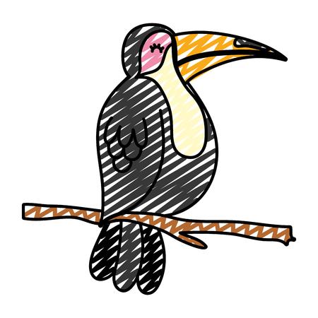 Ilustración de doodle exotic bird with beauty feathers in the branch - Imagen libre de derechos