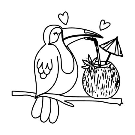 Ilustración de line exotic bird with tropical coconut beverage - Imagen libre de derechos