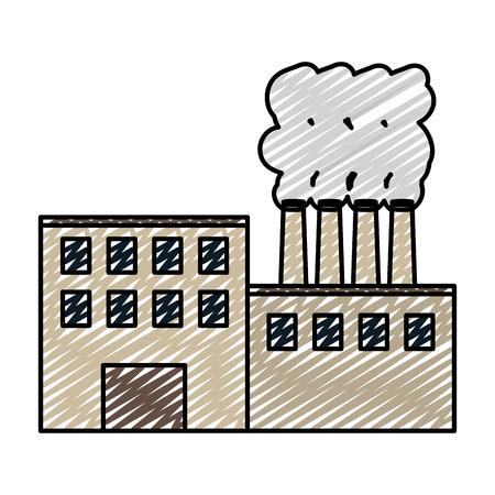 Illustration pour doodle industry factory process plant pollution vector illustration - image libre de droit