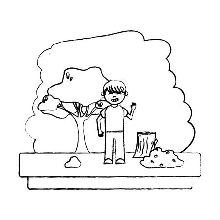 Ilustración de grunge happy boy in the forest ecology reserve vector illustration - Imagen libre de derechos