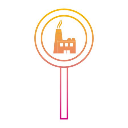 Illustration pour degraded line circle caution emblem factory pollution vector illustration - image libre de droit