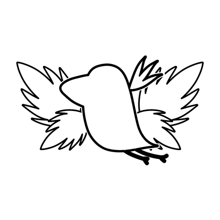 Ilustración de line silhouette bird with exotic leaves reserve vector illustration - Imagen libre de derechos