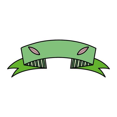 Ilustración de color ecology ribbon with leaves decoration design - Imagen libre de derechos