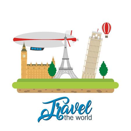 Illustration pour Travel the world monument scenery vector illustration graphic design - image libre de droit