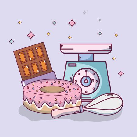 Illustration pour Food ingredients and kitchen utensils and supplies vector illustration graphic design - image libre de droit