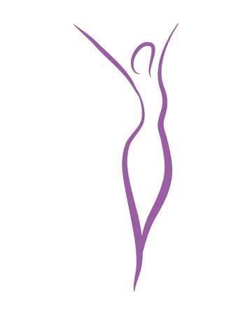 Illustration pour Woman silhouette yoga abstract leaves symbol vector illustration graphic design - image libre de droit