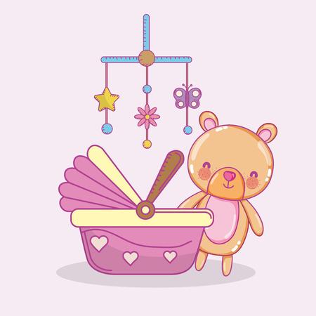 Ilustración de Baby shower toys and celebration cute cartoons vector illustration graphic design - Imagen libre de derechos