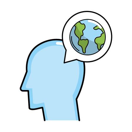Illustration pour cute head left view and speech bubble with earth globe cartoon vector illustration graphic design - image libre de droit