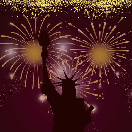 Illustration for bright fireworks liberty statue cartoon vector illustration graphic design - Royalty Free Image