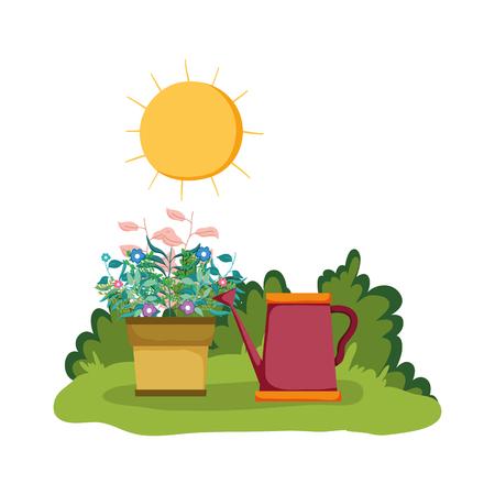 Illustration pour sprinkler of garden with houseplant in the park vector illustration design - image libre de droit