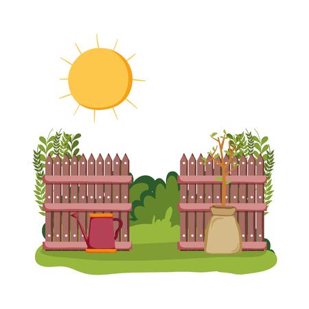 Illustration pour sprinkler of garden with fence in the field scene vector illustration - image libre de droit