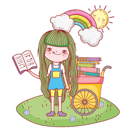 happy little girl reading books with cart in the field vector illustration design